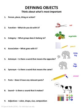 Defining and Describing Objects ~ Visual Organizer ~ Freebie