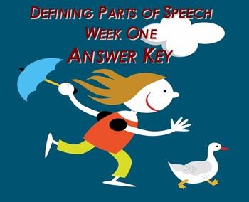 Defining Parts of Speech (Week One) Answer Key