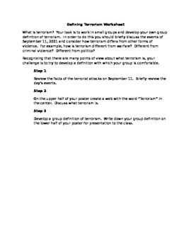 Defining Terrorism Worksheet (US History)
