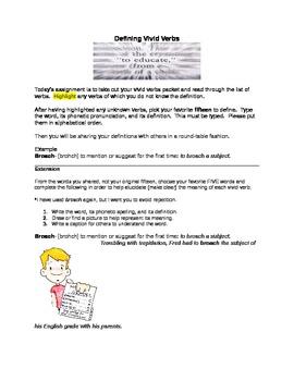Defining Vivid Verbs Vocabulary Accelerator (used with Vivid Verbs list)