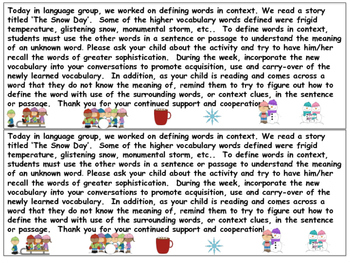 Defining Vocabulary in Context - Winter Themed Story Grades 4-8