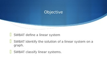 Defining and Classifying Linear Systems Powerpoint