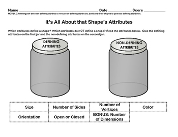 Defining and Non-Defining Attributes of Shapes