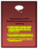 Quoting, Paraphrasing, and Inferring (defining and practice pages)