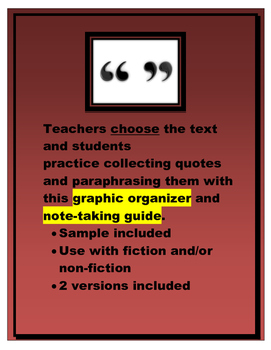 Quoting and Paraphrasing (defining and practice pages)