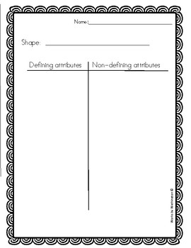 Defining attributes vs. Non-defining attributes T chart (blank)