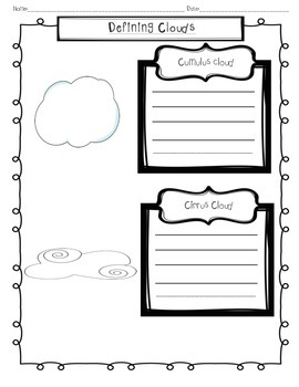 Defining clouds worksheet
