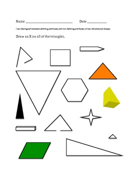 Defining versus Non-defining attributes of two-dimensional shapes