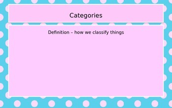 Defining words by category