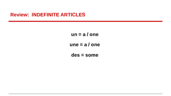 Definite Articles Introduction - French