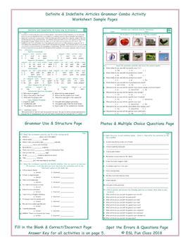 Definite-Indefinite Articles Grammar Combo Activity Worksheets