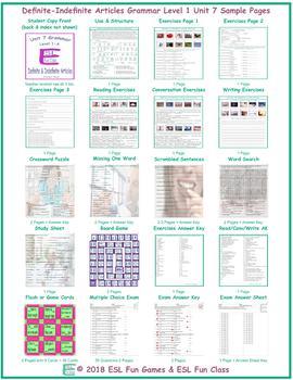 Definite-Indefinite Articles Level 1-A Unit 7