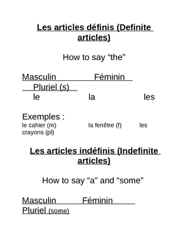 Definite & Indefinite Articles Note and Worksheet