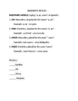 Definite and Indefinite Article