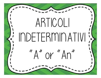 Definite and Indefinite Article Signs