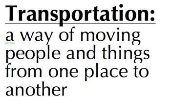 Definition Cards- Population, Transportation, Community