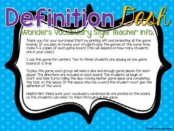 Definition Dash-Wonders Vocabulary Style (First Grade Vocab Words)