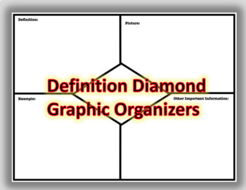 Definition Diamond Graphic Organizer (Study Materials, Note Taking, Concept)