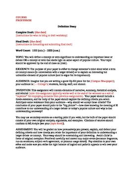 Definition Essay Assignment Sheet