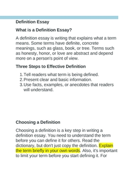 Definition Essay Instructions By Lenartd  Teachers Pay Teachers Definition Essay Instructions A Modest Proposal Ideas For Essays also Yellow Wallpaper Essay  Do My Engineering Assignment
