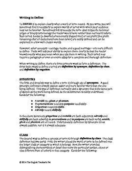 Definition Essay Notes and Activities