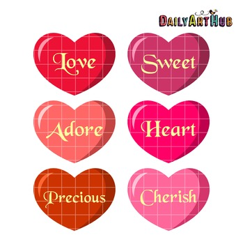 Definition of Hearts Clip Art - Great for Art Class Projects!