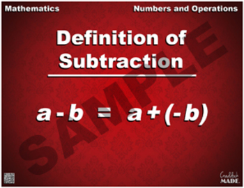 Definition of Subtraction Math Poster