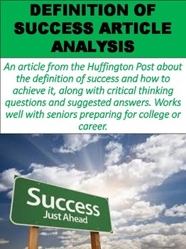 Definition of Success Article and Questions