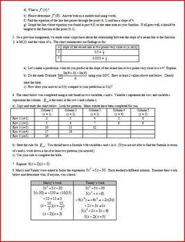 Definition of a Derivative (Editable)