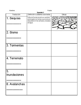 Definition of natural disasters in spanish