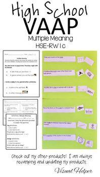 Definitions Multiple Meanings Autism VAAP HSE-RW2 Homonym