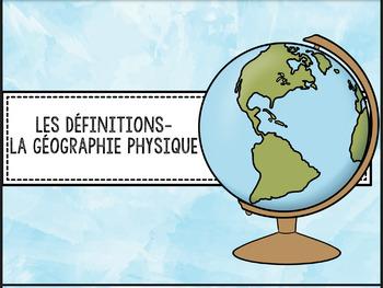 Définitions pour la Géographie physique