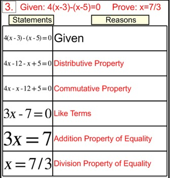 Degree 1 Equation Proofs in 2 Column Tables, Intro + 5 Assignments for PDF