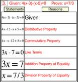 Degree 1 Equation Proofs in 2 Column Tables, Intro + 5 Assignments Power Point
