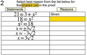 Degree 2 Equation Proofs in 2 Column Tables, 10 Assignments for PDF