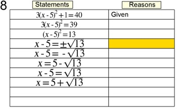 Degree 2 Equation Proofs in 2 Column Tables, 10 Assignments for SMART