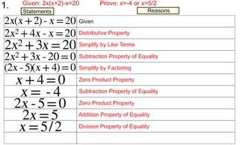 Degree 2 Equation Proofs in 2 Column Tables, 10 Assignments for Power Point