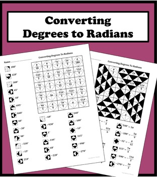 converting degrees to radians color worksheet by aric thomas tpt. Black Bedroom Furniture Sets. Home Design Ideas