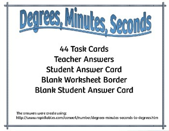 Degrees, Minutes, Seconds {44 Task Cards}