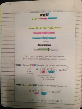 Trig Interactive Notebook Degrees Minutes Seconds