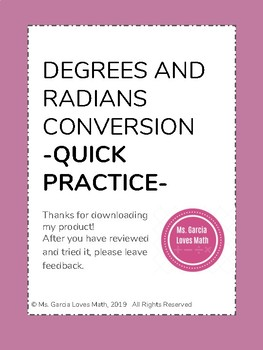 Degrees and Radians Conversion:  Quick Practice Freebie