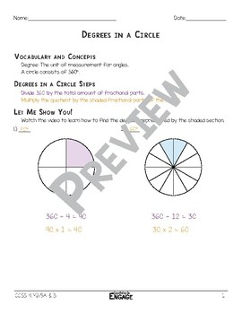 Degrees in a Circle Math Video and Worksheet