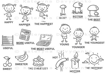 Degrees of comparison of adjectives in pictures
