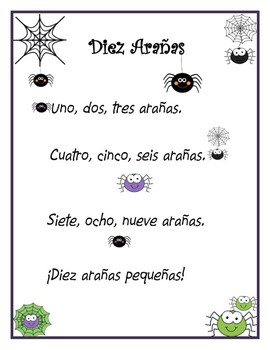 Diez Arañas - Song and coordinating printables.