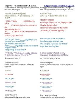 Déjà vu – Prince Royce Ft. Shakira - Reflexive verbs, stem-changer verbs