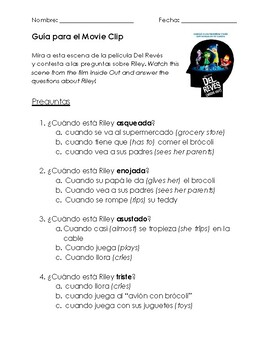 Del Reves/Intensamente (Inside Out) Worksheet; Feelings/Emotions Unit Spanish