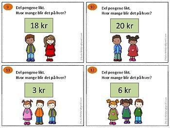 Del pengene likt (tall 2-20) BOKMÅL