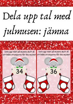 Dela upp tal med julmusen - jämna