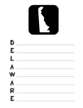 Delaware State Acrostic Poem Template, Project, Activity, Worksheet