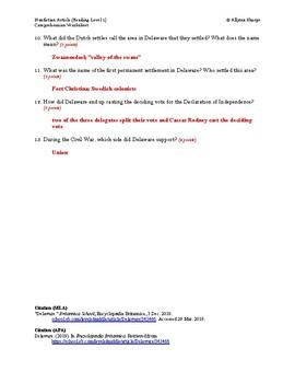 Delaware Article (Reading Level 1) Comprehension Worksheet